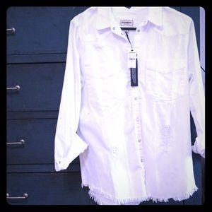 So Cute! distressed white denim shirt from Express
